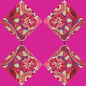 Art nouveau flowers on magenta checkerboard cheater quilt squares