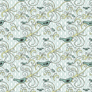 Fly Green Birdie - Small Scale - 04S - Pale Aqua Green Birds With Pale Citron Swirl on Pale Aqua Green/White Symmetrical Background