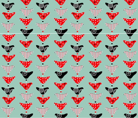 Bird Mobile Spoonflower Colourway fabric by giddystuff on Spoonflower - custom fabric