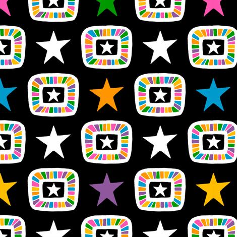 Candy Stars on Black fabric by siya on Spoonflower - custom fabric
