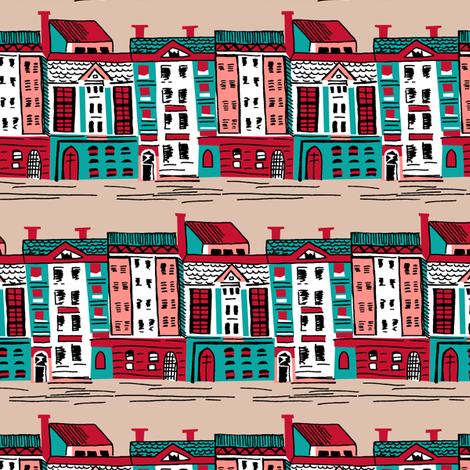 Mid Century Street fabric by tuppencehapenny on Spoonflower - custom fabric