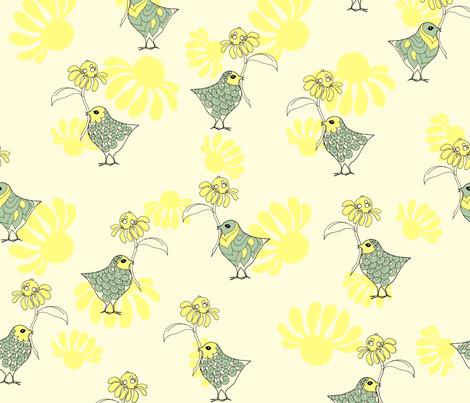flower birds fabric by findevogel on Spoonflower - custom fabric