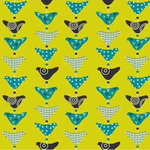 Bird Mobile Yellow and Blue