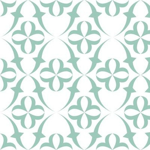 Fly Green Birdie - Large Scale - 01L-AW - Pale Aqua Green/White Symmetrical Background