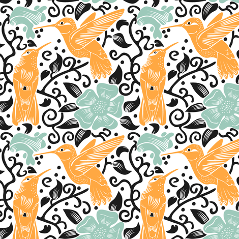 Happy Hummingbirds fabric by dianne_annelli on Spoonflower - custom fabric