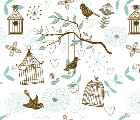 Bird pattern fabric by innaogando on Spoonflower - custom fabric