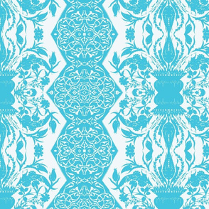 Tahtakale Flowers Upholstery Twill White-Turquoise