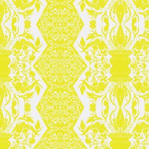 Tahtakale Flowers Upholstery Twill White-Mustard
