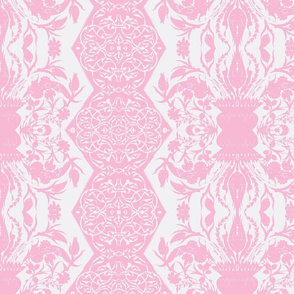 Tahtakale Flowers Upholstery Twill White-Rose