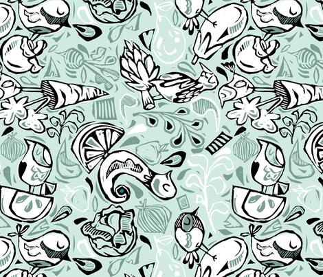 Fruits and Vegeta-birds- Light Hues fabric by gsonge on Spoonflower - custom fabric
