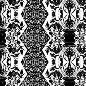 Tahtakale Flowers Upholstery Twill White-Black