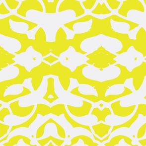 Tahtakale Pattern Silk Crepe de Chine-White-mustard