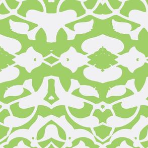 Tahtakale Pattern Silk Crepe de Chine-White-Green