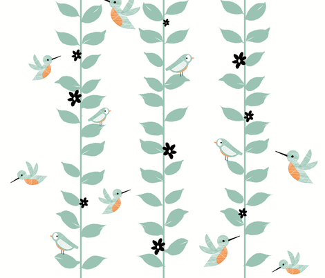 sweet birds & vines fabric by fable_design on Spoonflower - custom fabric