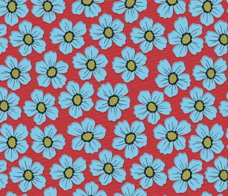 retro blossom blue fabric by littlerhodydesign on Spoonflower - custom fabric