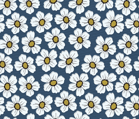 retro blossom denim fabric by littlerhodydesign on Spoonflower - custom fabric