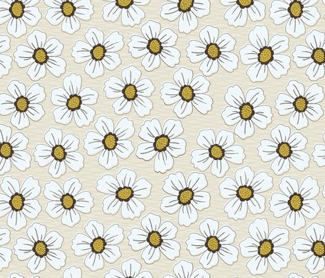 retro blossom white fabric by littlerhodydesign on Spoonflower - custom fabric