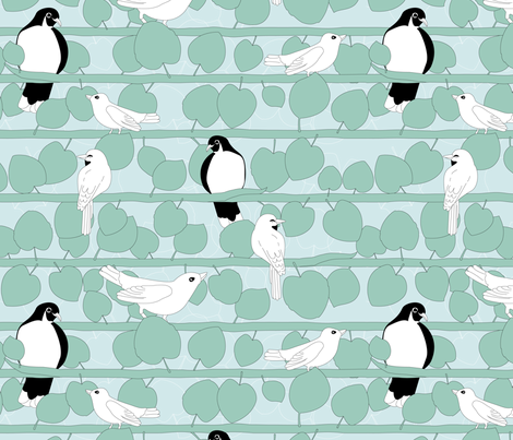 Birds and Vines | Limited Palette  fabric by wildnotions on Spoonflower - custom fabric