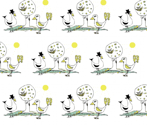 birds amore fabric by camillacarraher on Spoonflower - custom fabric