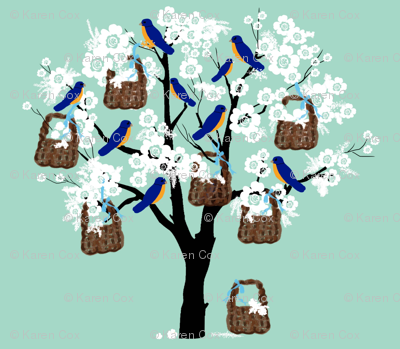 Bluebirds, Baskets and Blossoms small print