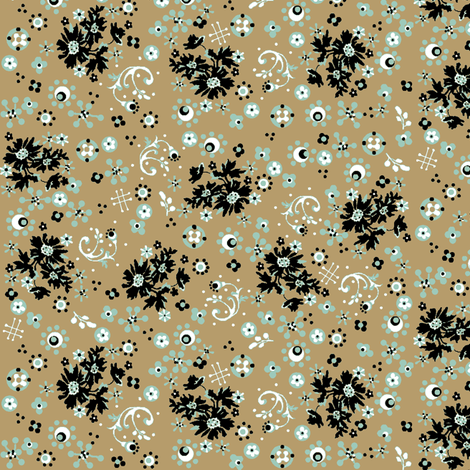 ditsy khaki flora fabric by paragonstudios on Spoonflower - custom fabric