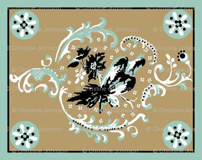 birds quilt / khaki floral