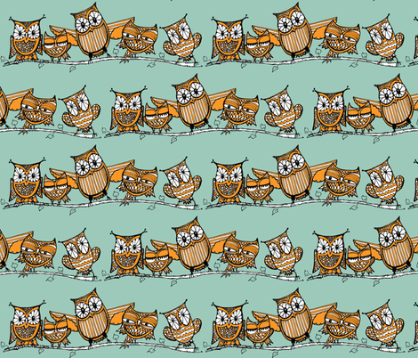 Chouette Alors! (orange/blue) fabric by cheeseandchutney on Spoonflower - custom fabric
