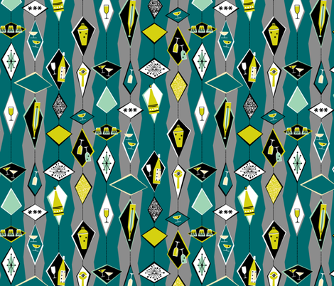 Cocktail Diamonds Teal fabric by tuppencehapenny on Spoonflower - custom fabric