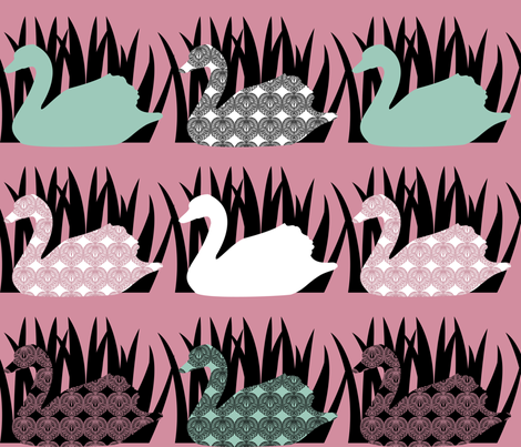 Swan Tattoo fabric by meredithjean on Spoonflower - custom fabric