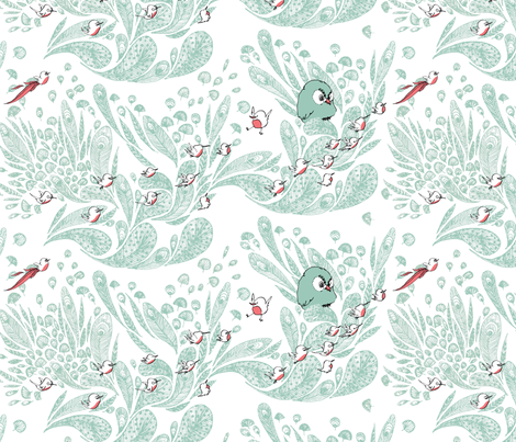 birds fabric by clairefauche on Spoonflower - custom fabric