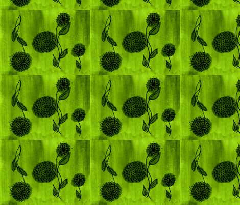 flowers on the wing green fabric by mimi&me on Spoonflower - custom fabric