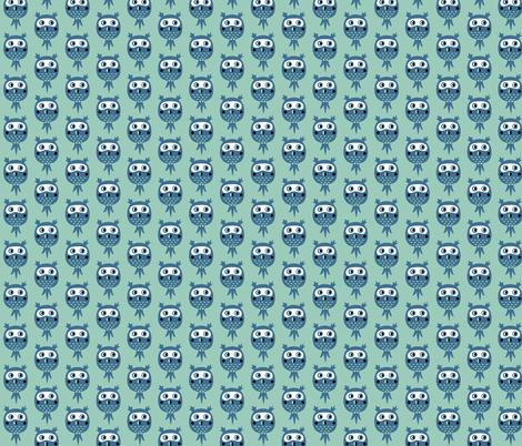 Birds in blue - owls fabric by bora on Spoonflower - custom fabric