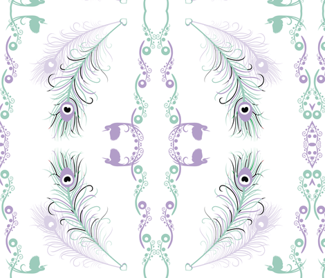 Tranquil Feathers fabric by elvishthistle on Spoonflower - custom fabric