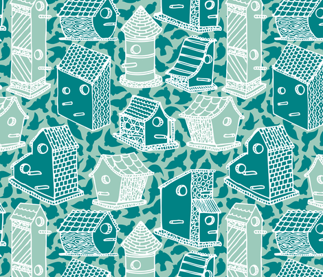 Bird Houses - blue fabric by noaleco on Spoonflower - custom fabric
