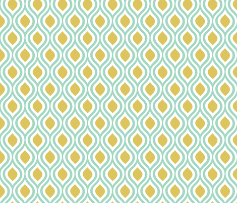 Double Ogee: Mint and Buff fabric by nadiahassan on Spoonflower - custom fabric