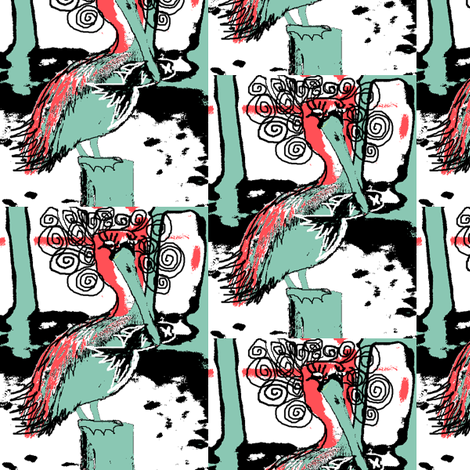 Pelican bird with fish fabric by amy_g on Spoonflower - custom fabric