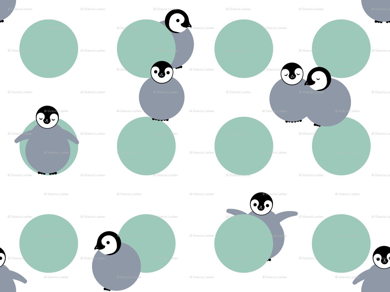 Baby Penguin Polka fabric - victorialasher - Spoonflower
