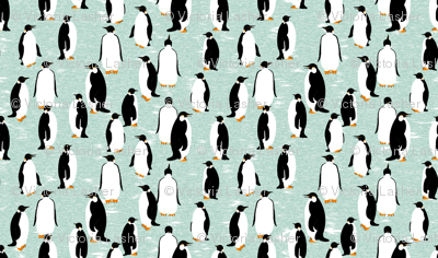 "Penguins Go With the Floe (please ""Zoom"" for a clearer image)"
