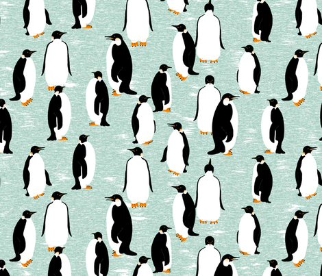 "Penguins Go With the Floe (please ""Zoom"" for a clearer image) fabric by victorialasher on Spoonflower - custom fabric"