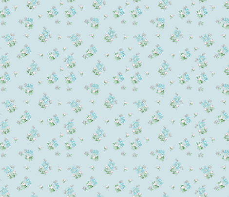 Vintage Bloom Blue fabric by adeline_country_cottage on Spoonflower - custom fabric