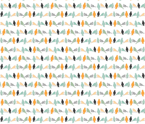 Mod Birds on a Line fabric by meg56003 on Spoonflower - custom fabric