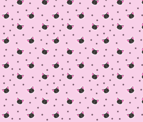 Kawaii Black Kitty fabric by eerie_doll on Spoonflower - custom fabric
