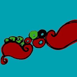 big rococò red turquoise back