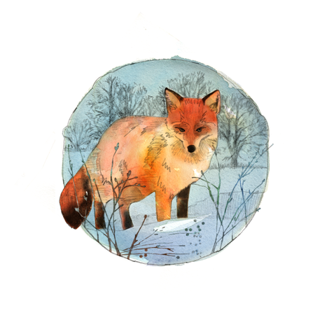 Winter Fox fabric by sandeehjorth on Spoonflower - custom fabric