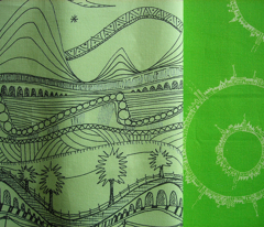 sketchbook landscape pale green