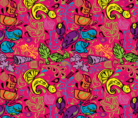 Fruit and Vegeta-birds- Bright and Hot!! fabric by gsonge on Spoonflower - custom fabric