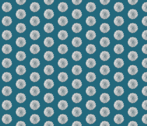 Dandelion Seed Head Mini - Teal fabric by nezumiworld on Spoonflower - custom fabric