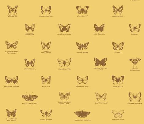butterfly alphabet - serene wheat fabric by weavingmajor on Spoonflower - custom fabric