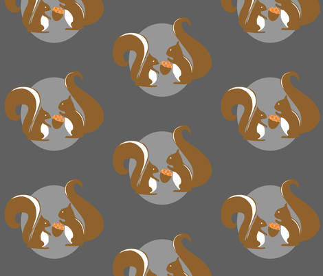 Squirrels in Gray fabric by meg56003 on Spoonflower - custom fabric