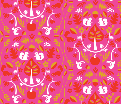 Autumn Harvest Pink fabric by acbeilke on Spoonflower - custom fabric
